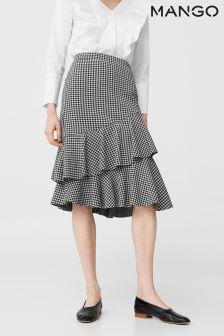Mango Mono Gingham Print Frill Hem Skirt