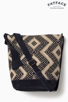 Fat Face Navy Tia Hessian Weave Cross Body Bag