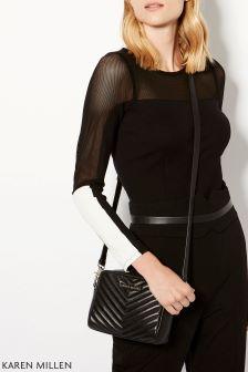 Karen Millen Black Panelled Colourblock Collection T-Shirt