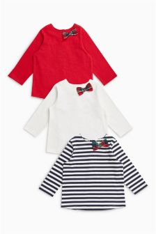 Bow Detail Long Sleeve Tops Three Pack (0mths-2yrs)
