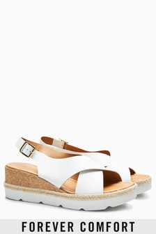 Cross Vamp Wedge Sandals