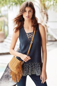 Lace Up Woven Hem Knit Vest