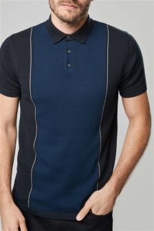Vertical Blocked Knitted Polo