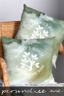 Love Grows Here Personalised Green Cushion By Letterfest