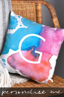 Watercolour Initial Cushion By Letterfest