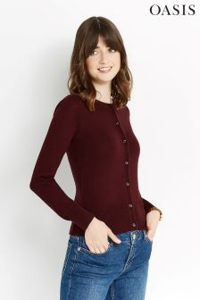 Oasis Burgundy Angel Crew Cardi In Ruby
