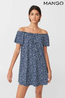 Mango Navy Ditsy Print Jersey Dress