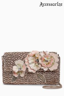 Accessorize Gold Tallulah Flower Foldover Clutch Bag
