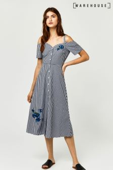 Warehouse Navy Delia Embroidered Dress