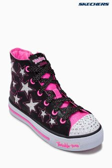 Skechers® Black Shuffles Rockin Stars Cut Out Hi Top