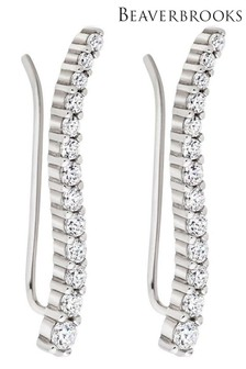 Beaverbrooks Silver Cubic Zirconia Wave Climber Earrings