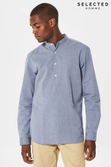 Selected Homme Grey Half Placket Shirt