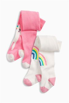 Rainbow And Unicorn Tights Two Pack (0mths-2yrs)