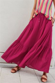 Tiered Hem Maxi Skirt