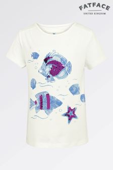 Fat Face Ecru Colour Change Fish Graphic Tee