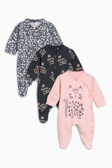 Leopard Sleepsuits Three Pack (0mths-2yrs)