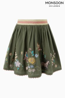 Monsoon Khaki Magda Badge Skirt