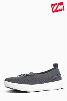 FitFlop™ Charcoal Uberknit Slip On Ballerina With Bow In Waffle