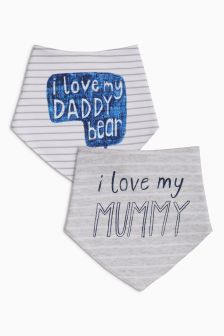 I Love My Mummy Daddy Dribble Bibs Two Pack