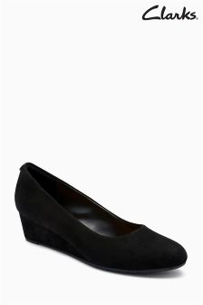 Clarks Wide Fit Black Suede Vendra Bloom Wedge Court Shoe