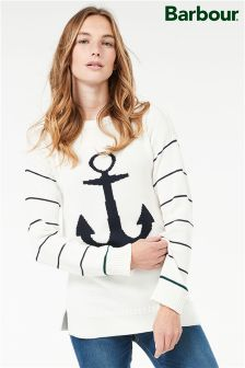 Barbour® Wester White/Navy Anchor Detail  Knit