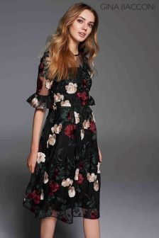 Gina Bacconi Red Celia Floral Embroidery Dress