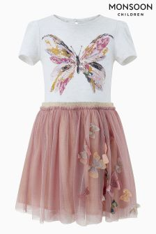Monsoon Pink Disco Billie Butterfly Dress