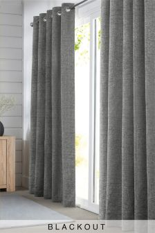 Textured Chenille Eyelet Blackout Curtains