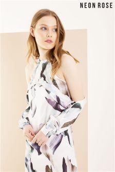 Neon Rose Multi Elemental Print Cold Shoulder Dress