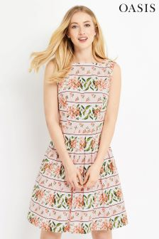 Oasis Pink Summer Floral Stripe Skater Dress