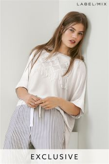 Mix/Teatum Jones Fringe Embroidered Top