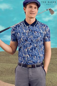 Ted Baker Blue Leaf Print Polo