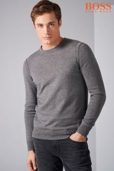 Boss Orange Grey Crew Knit Jumper