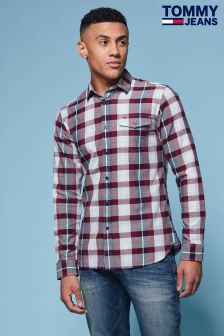 Tommy Hilfiger Denim Red Brushed Twill Checked Shirt