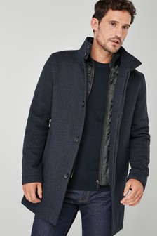 Funnel Neck Zip Through Coat