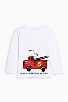 Long Sleeve Fire Engine T-Shirt (3mths-6yrs)