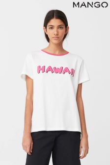 Mango White/Red Hawaii Slogan Tee