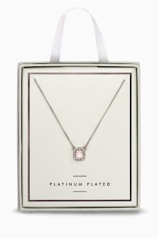 Plated Pink Stone Necklace