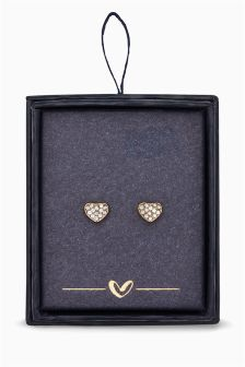 Crystal Effect Heart Stud Earrings