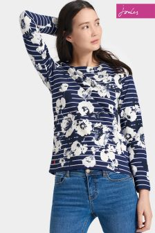 Joules Navy Posy Stripe Harbour Print Jersey Top