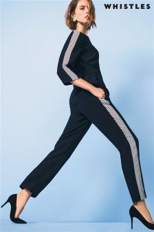 Whistles Navy Stripe Trouser