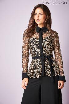 Gina Bacconi Black Lisa Embroidered Blouse