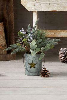 Glittered Foliage In Galvanised Pail