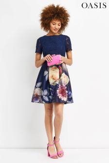 Oasis Blue Lace Bodice Mini Dress