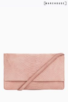 Warehouse Light Pink Suede Embossed Croc Cross Body Bag