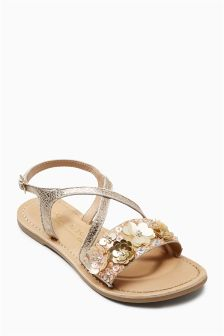 Embellished Flower Sandals (Older Girls)