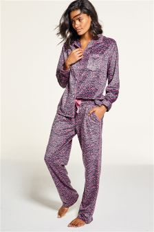 Animal Print Cosy Button Through Pyjamas