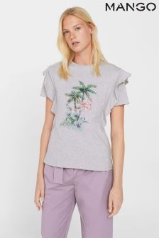 Mango Grey Embellished Flamingo T-Shirt