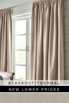 Soft Velour Pencil Pleat Blackout Curtains