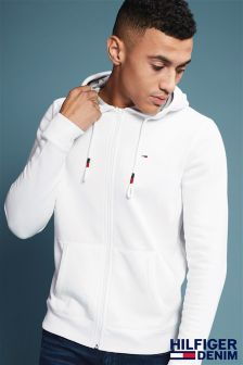 Hilfiger Denim White Basic Zip Through Hoody